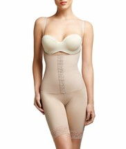 Squeem BEIGE Perfectly Curvy Open Bust Mid Thigh Bodysuit, US 4 - $48.51
