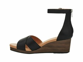 UGG Eugenia Black Women's Leather Ankle Strap Wedge Sandals 1117348 - $96.00