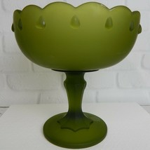 """Indiana Glass Frosted Glass Avocado Green Compote Dish Teardrop Pedestal 7.5"""" - $19.99"""