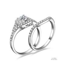 0.5 ct Round Halo Split 925 Sterling Silver Cubic Zirconia Engagement Ring Set - $51.28