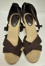 Ann Taylor Loft Espadrilles Shoes Wedge Heels Ankle Tie Brown Size 6.5 Vintage - $27.79