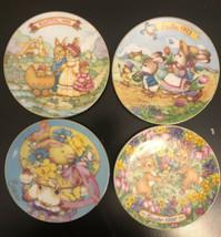"Set (4) Easter Plates Avon '91' 93' 95'  96"" Collector 5"" Bunnies 22k Gold Trim - $18.70"