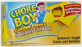 New 2pk CHORE BOY Golden Fleece Scouring Cloths Pad Cleaning Kitchen Law... - $5.22