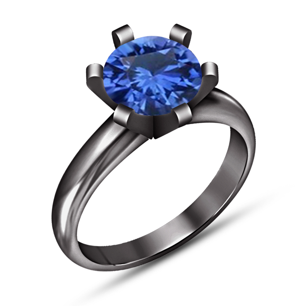 Black Gold Fn 925 Silver Blue Sapphire Vintage Wedding Engagement Solitaire Ring