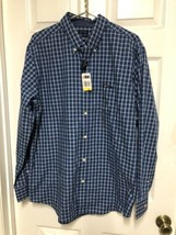 Chaps Easy Care Button Up Navy Blue Plaid Mens Sz M Ret $55 Shirt NEW Long Slv - $13.10