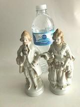 "Vintage Ceramic Figurines Man and Woman Victorian Statutes 6.5"" Tall Japan - $15.64"