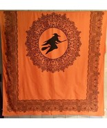 "Victorian Trading Co Witch  Halloween Tablecloth 'Midnight Ride' 85"" X 60 - $57.66"