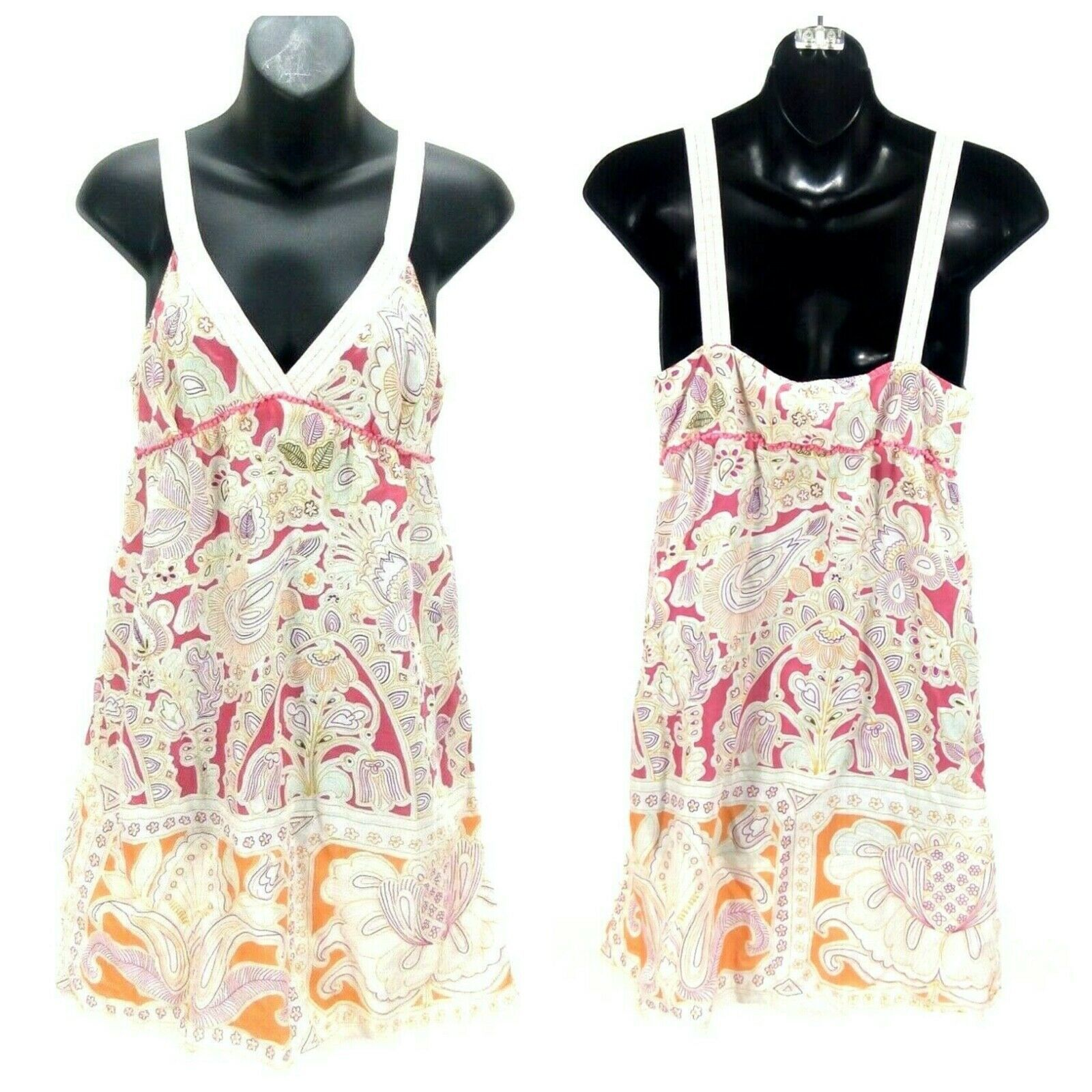 Primary image for Lilka Anthropologie Women Mini Dress Red/Pink Cotton Floral Sleeveless A-line XS