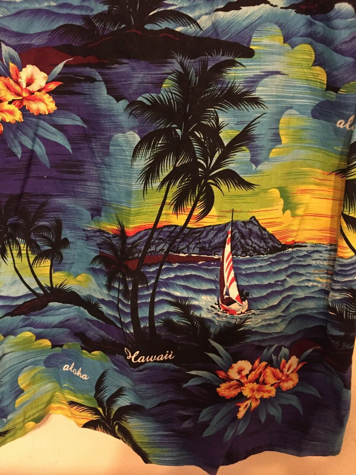 Vintage Mens Royal Creations Blue Made in Hawaii Cotton Hawaiian Shirt Sz M