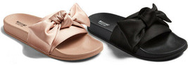 Brand New Womens Julisa Blush or Black Satin Bow Slide Sandals Mossimo Supply Co