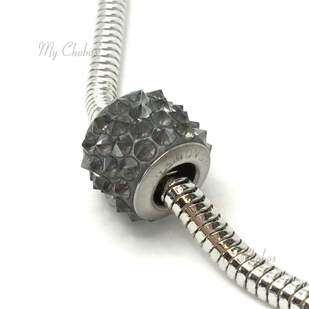 Swarovski European Fit Bracelet Charm Stainless BeCharmed Pave Spikes Crystal image 9
