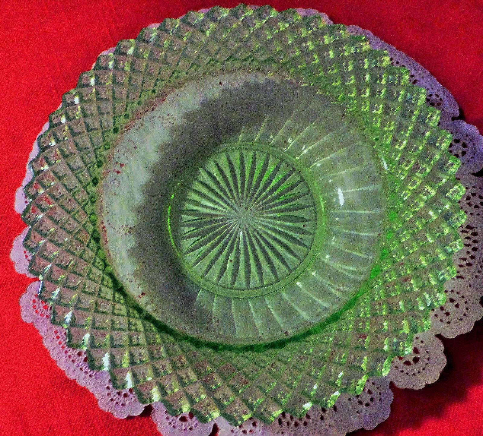 "Vaseline glass, small bowl. diamond pattern, 6""across, abt.2""deep, great shape."