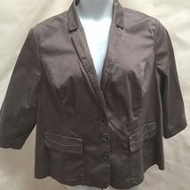 Lane Bryant Plus Size 24 Jacket Gray Cotton Stretch Swing Blazer 3/4 Sleeve - $21.53