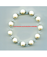 white crystal  beaded bracelet acrylic & glass stretch fashion handmade ... - $4.99