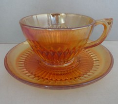 Jeannette Carnival Glass Anniversary Marigold Cup & Saucer - $9.62