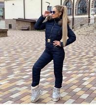 European Women's Fashion One Piece Black Fur Lined Hooded Ski Suit Snowsuit image 8