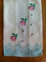 """VINTAGE 21"""" TEA TOWEL ~ HAND EMBROIDERED PINK FLORAL - $5.93"""