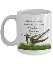 An item in the Pottery & Glass category: Maya Angelou Quote Mug - A Bird Doesn't Sing Coffee Mug With Inspirational Quote