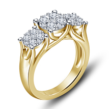 14k Yellow Gold Finish 925 Solid Sterling Silver Womens Diamond Engageme... - £58.95 GBP