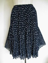 NWT Talbots Crystal Pleated Chiffon Skirt 14 Navy Silver Dots $108 - $24.99
