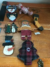 Estate Lot of Jointed Fabric Teddy Bear Painted Wood Snowman Plaid Chris... - $15.79