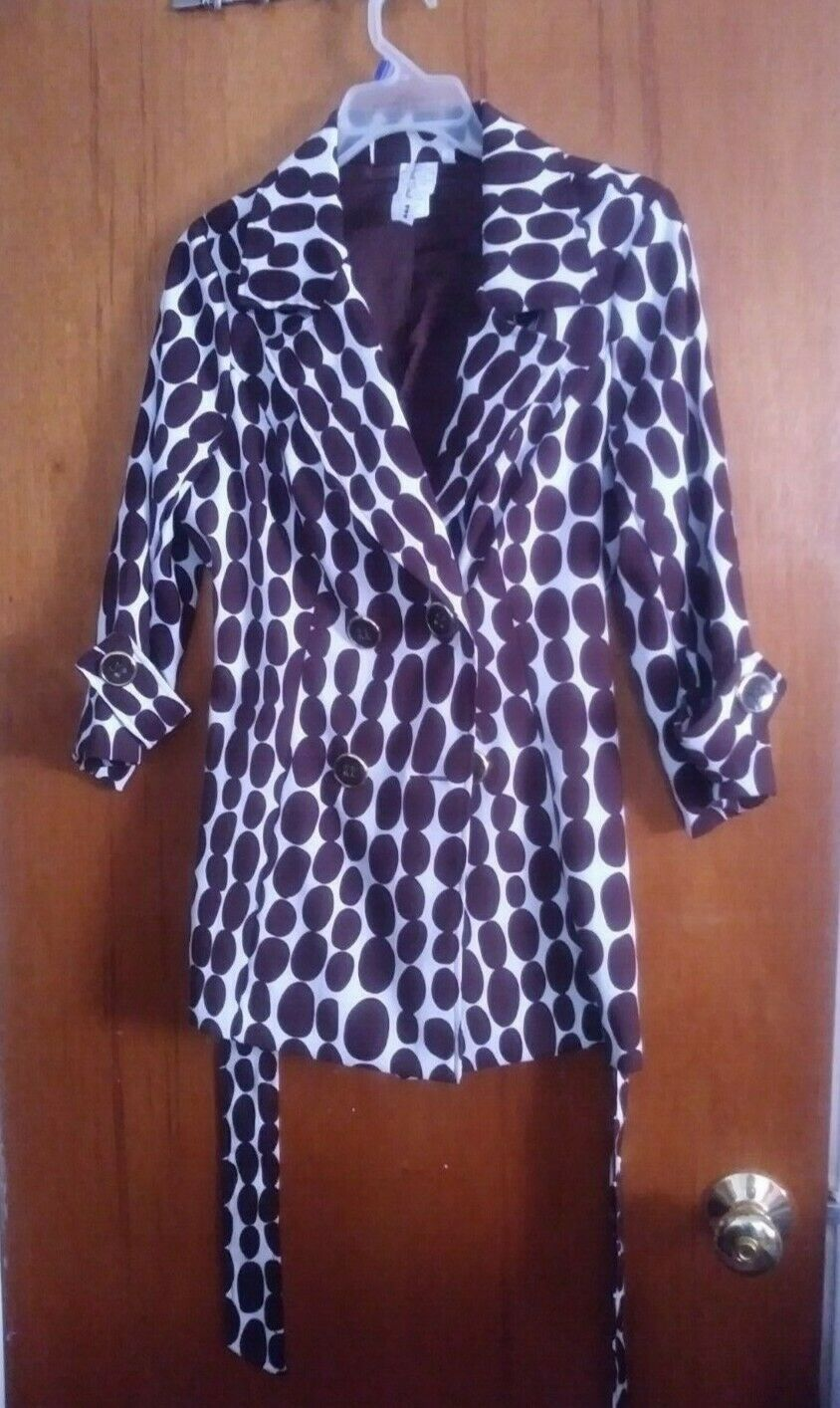 Primary image for Womens Brown Fashion Polka Dot Polyester Top Dress Jackets Blazers Size Medium