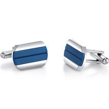 Men's Stainless Steel Cool Artic Blue Stripe Cufflinks - $59.99