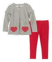 White & Black Stripe Heart Long-Sleeve Top & Red Leggings - Infant 12 MONTHS