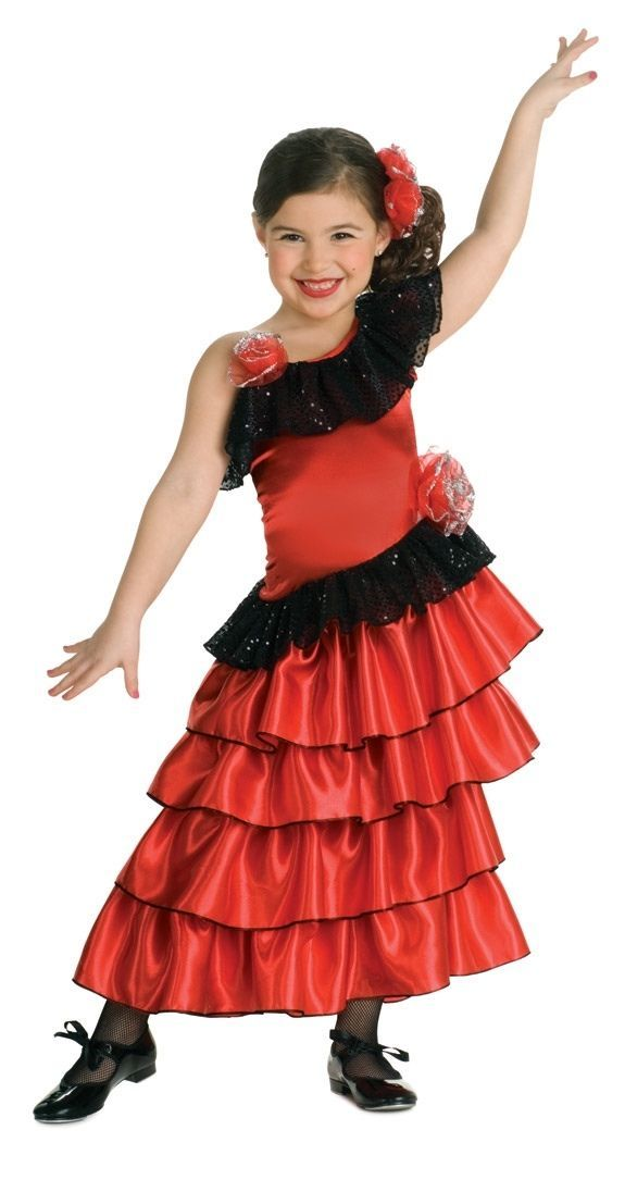 Primary image for Sophisticated Flamenco Red Spanish Princess Dress-up Costume/Headpiece, Rubies