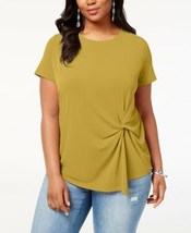 INC International Concepts Plus Size Twisted Asymmetrical Top (Gold, 1X) - $45.19 CAD
