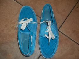 womens flat boat shoes coach size 7/7.5 light blue tie laces - $95.00