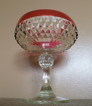1950s Indiana Pedestal Compote Centerpiece Vintage Clear Ruby Bowl Glass... - $29.99