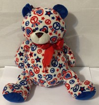 Ganz Peace Sign Hearts Patriotic Teddy Bear 8 Inches Tall - $9.89