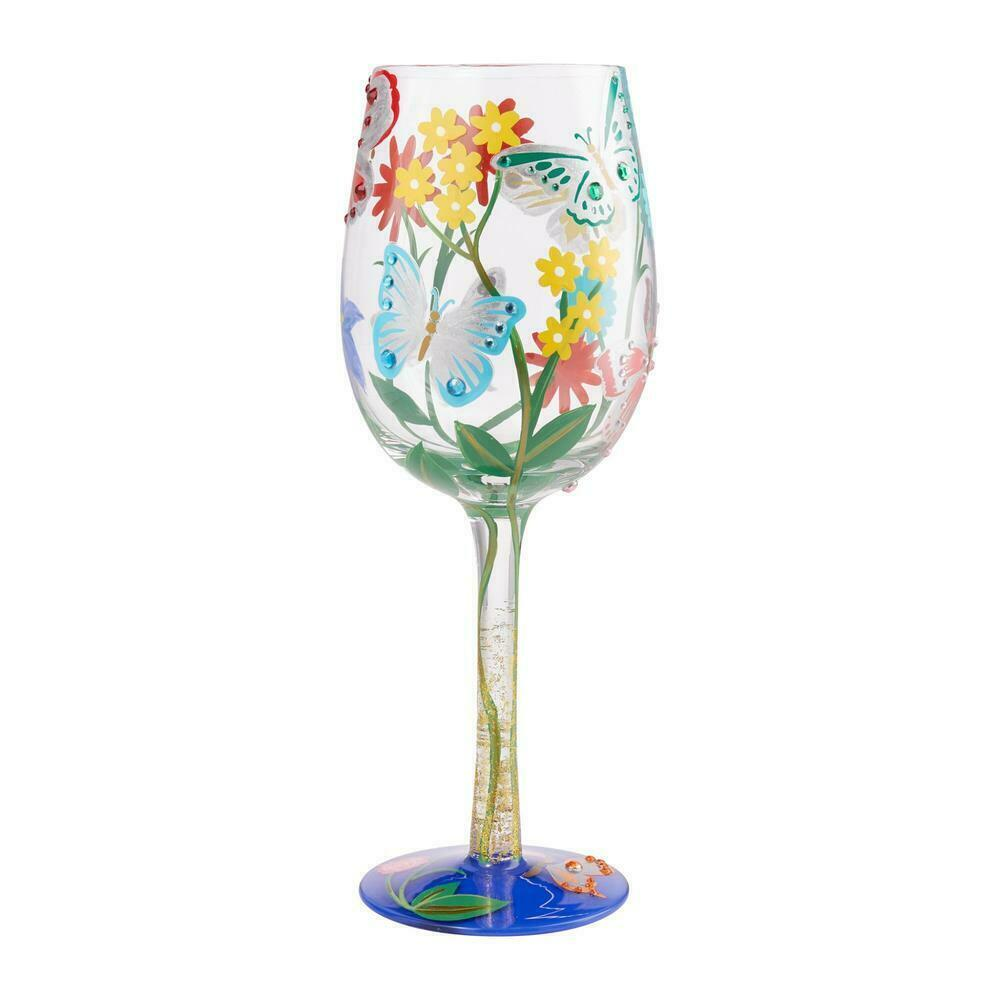 "Bejeweled Butterfly ""Designs by Lolita"" Wine Glass 15 o.z. 9""  Gift Boxed"