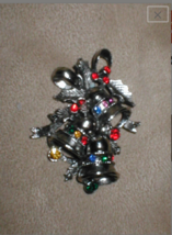 Vintage`1960's Christmas Bells Rhinestone Brooch signed BEATRIX - $34.60