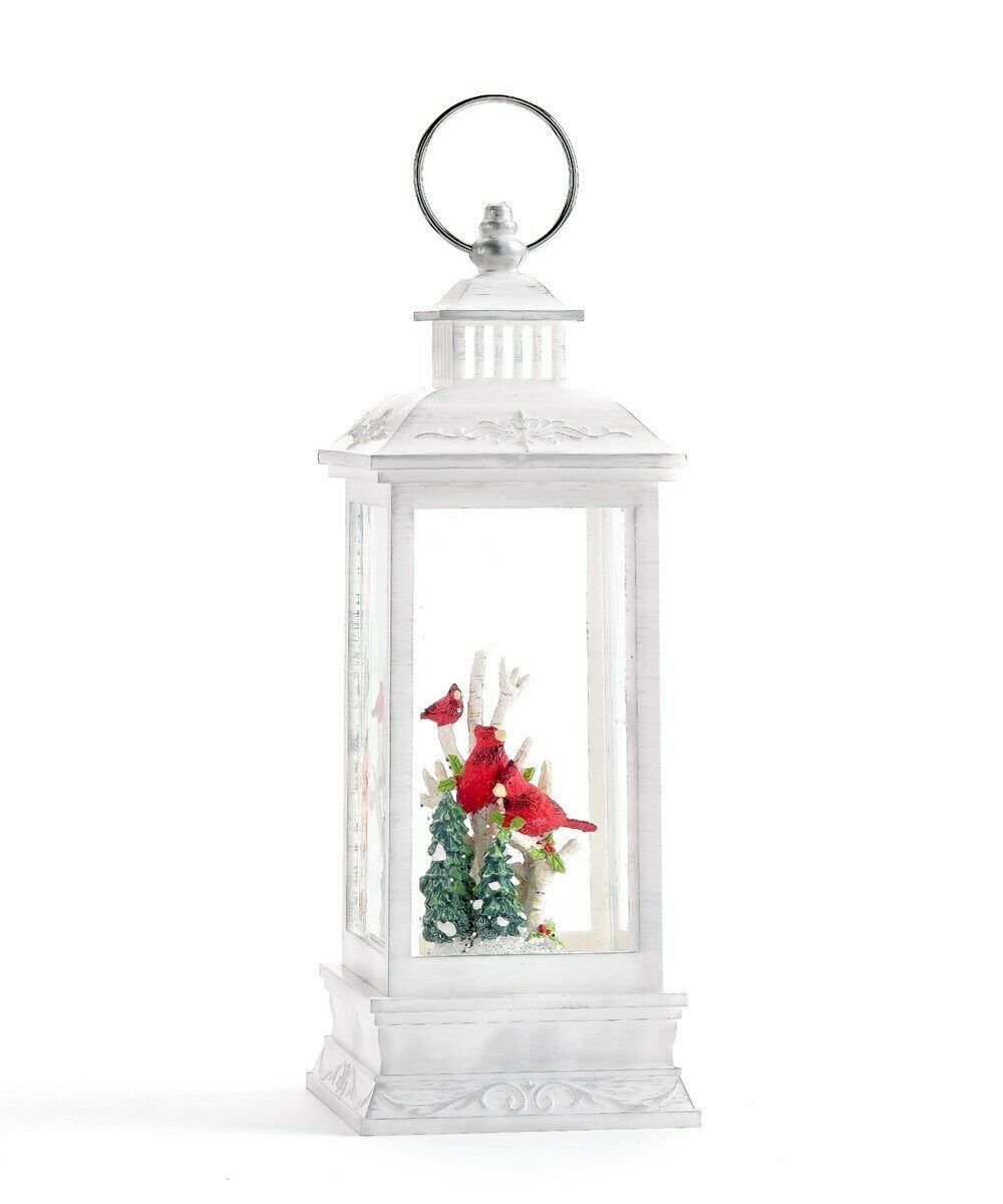 "10.83"" led Water Lantern w Three Cardinal Birds, White Branches & Pine Trees"