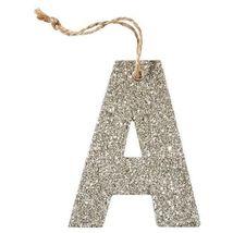 Pottery Barn Silver German Glitter Letter Ornaments