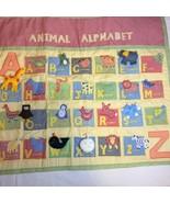 "Animal Alphabet Wallhanging Pottery Barn Kids 34"" x 30"" Gingham Pockets - $19.34"
