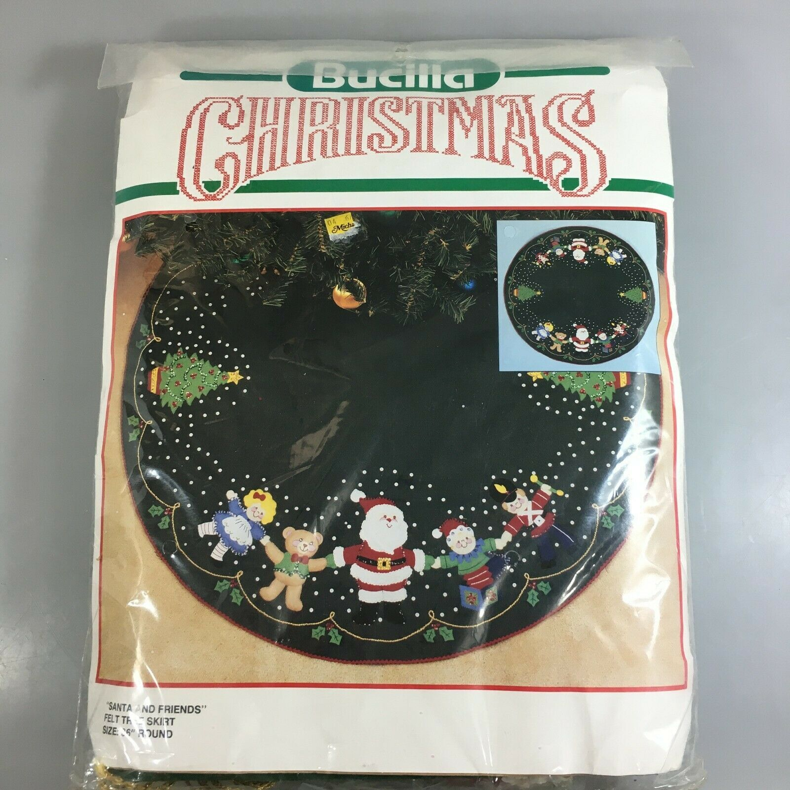 "Primary image for Bucilla Christmas Tree Felt Skirt Kit 36"" Santa and Friends 82724 USA Made"