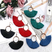 Earrings Women Bohemian Long Vintage Fringed Drop Tassel Round Big Earri... - $5.87