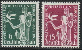 1936 World Congress on Recreation Set of 2 Germany Stamps Catalog 477-78 MNH