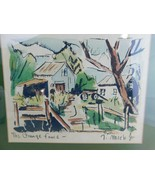 Thomas Meek Jr 1950s The Orange Fence Original Watercolor on Lithograph  - $112.71