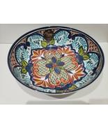 Palm Restaurant Blue Spanish Tile Medallion Melamine Serving Bowl  - $34.99