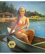 Vintage Napa ad pin up girl canoe lake muscle car metal sign man cave decor - $15.83