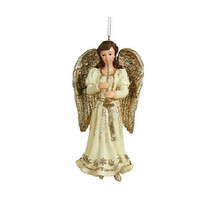 Kurt Adler Hand Painted Platinum Brunette Angel w/TRUMPET Christmas Ornament - $12.88