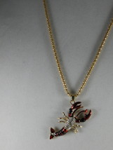 NEW Betsey Johnson Rhinestone Red & Black Lobster Pendant on Lo... - $24.50