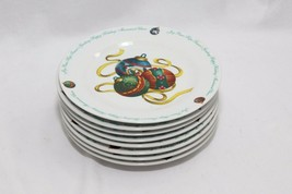"Atico Yuletide Traditions Xmas Ornaments Salad Dessert Plates 7.5""  Lot ... - $61.69"