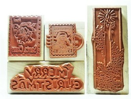 NEW STAMPS! Set of 4 Christmas-Themed Rubber Stamps Mounted on Wood image 2