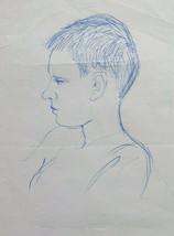 Drawing Antique Portrait Child Pen On Basket Sketch Sketching Art P28.8 - $19.37