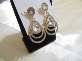 Charter Club Gold Tone Simulated Diamond Dangle Drop Stud Earrings E833 - $9.59